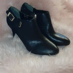 10 Marc Fisher Cyril gold buckle black booties
